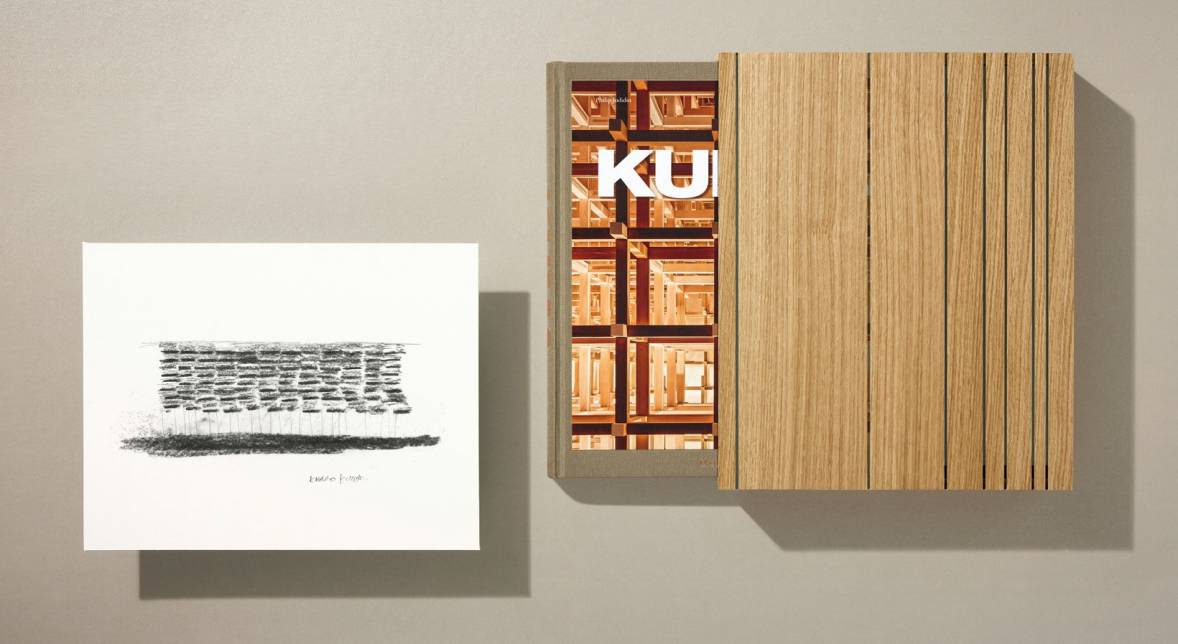 Art Edition No. 1–200 Yusuhara Community Market, Japan Photogravure of a sketch, 29 x 37.4 cm (11.4 x 14.7 in.) Signed by Kengo Kuma The book and art print come in a custom-built wooden slipcase designed by Kengo Kuma and produced by a local wood workshop in Japan.