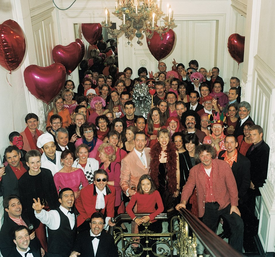 The TASCHEN staff in pink at the annual Christmas party in Cologne, 1998.